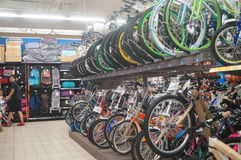 Carrefour supermarket, the sale of bicycles Stock Image