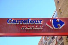 Carrefour supermarketa signage zdjęcie royalty free