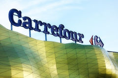 Carrefour-Supermarkt-Logo Stockbilder