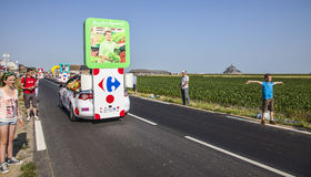 Carrefour Truck. Ardevon, France- July 10, 2013: Carrefour truck during the passing of the publicity caravan during the stage 11 of the edition 100 of Le Tour de Stock Photos