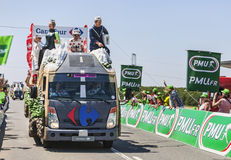 Carrefour Truck. Saint Aoustrille, France-July 12,2013: Carrefour trucks during the passing of the publicity caravan at the intermediate sprint line during the Stock Photos