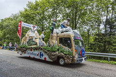Carrefour Vehicle. Le Markstein, France- July 13, 2014:The fancy Carrefour Vehilce during the passing of the Publicity Caravan on mountain pass Le Markstein stock photos