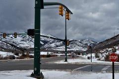 Carrefours en hiver - Utah Images libres de droits