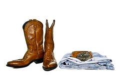 Carreg o cowboy das calças de brim Fotos de Stock