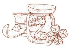 Carreg o gnomo, nake em um frasco de vidro, trevo Imagens de Stock