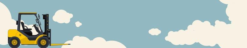 Carregador amarelo da empilhadeira, céu com as nuvens no fundo Disposição horizontal da bandeira com máquina escavadora pequena,  ilustração royalty free