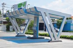 carregador do veículo elétrico no posto de gasolina para apoiar o carro bonde no futuro fotos de stock