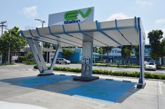 carregador do veículo elétrico no posto de gasolina para apoiar o carro bonde no futuro imagens de stock royalty free