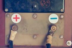 Carregador velho para a bateria de carro usada como o fundo Fotografia de Stock Royalty Free