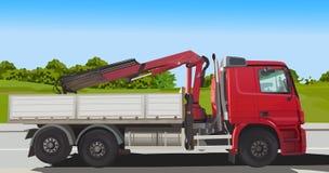 Carregador vermelho do caminhão ilustração stock