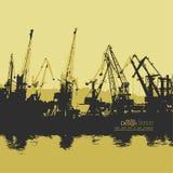 Carregamento, descarregando no porto ilustração do vetor