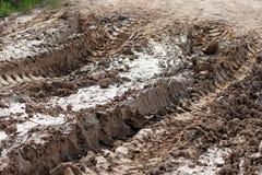 Carreggiate dell'automobile nel fango asciutto della strada Immagine Stock