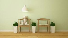 Carregue a boneca na sala da criança ou no café - rendição 3D Imagem de Stock