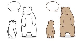 Carregue desenhos animados de fala do caráter da ilustração da bolha do discurso do ícone do logotipo do urso polar do vetor ilustração do vetor