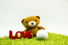 Carregue e Golf com carta de amor no fundo branco Fotografia de Stock