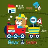 Carregue e treine desenhos animados engraçados, ilustração do vetor ilustração do vetor