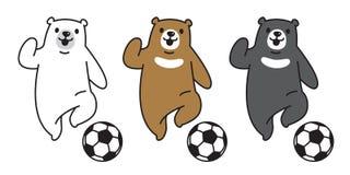 Carregue a ilustração dos desenhos animados do caráter do símbolo do ícone do logotipo do futebol do futebol do urso polar do vet ilustração do vetor