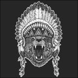 Carregue a mantilha indiana vestindo animal fresca do nativo americano com imagem tirada do estilo de Boho das penas mão chique p ilustração do vetor