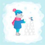 Carregue nas madeiras que constroem um castelo feito da neve Ilustração do vetor Imagem de Stock