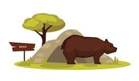 Carregue o animal do jardim zoológico e o ícone de madeira dos desenhos animados do vetor do quadro indicador para o parque zooló ilustração royalty free