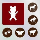 Carregue o backkckground do vetor, do ícone, da ilustração, o vermelho e o marrom Fotos de Stock Royalty Free