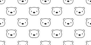 Carregue o branco isolado do papel de parede dos desenhos animados da ilustração do fundo do vetor do urso polar do teste padrão  ilustração do vetor