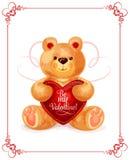Carregue o brinquedo com coração para o projeto de cartão de Valentine Day ilustração stock