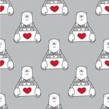 Carregue o cinza isolado do fundo do papel de parede do amor do coração do vetor do urso polar do teste padrão Valentim sem emend ilustração royalty free