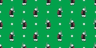 Carregue o fundo isolado do basebol da peluche do urso polar do vetor do teste padrão papel de parede sem emenda ilustração stock