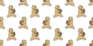 Carregue o fundo isolado do papel de parede da corrida da peluche do teste padrão do vetor do urso polar mel sem emenda ilustração stock