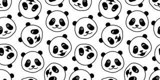 Carregue o fundo isolado do papel de parede da garatuja da cabeça do urso polar do vetor do teste padrão panda sem emenda ilustração do vetor
