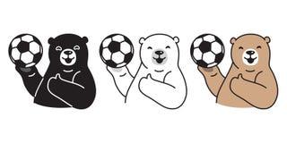 Carregue o personagem de banda desenhada da ilustração do ícone do logotipo do urso polar do futebol do vetor da bola de futebol ilustração do vetor