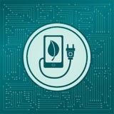 Carregue o poder do eco, cabo do usb é conectado ao ícone do telefone em um fundo verde, com as setas em sentidos diferentes Apar Fotografia de Stock Royalty Free