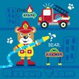 Carregue os desenhos animados animais engraçados do bombeiro, ilustração do vetor ilustração do vetor