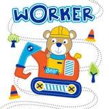 Carregue os desenhos animados animais engraçados do trabalhador, ilustração do vetor ilustração stock