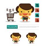 Carreira da dona de casa do projeto de caráter, vetor do ícone com fundo branco Fotos de Stock Royalty Free