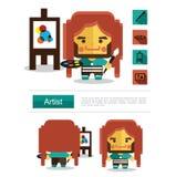 Carreira do artista do projeto de caráter, vetor do ícone com fundo branco Imagem de Stock