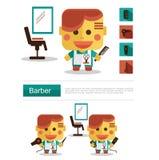 Carreira do barbeiro do projeto de caráter, vetor do ícone com fundo branco Imagem de Stock