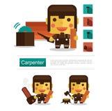 Carreira do carpinteiro do projeto de caráter, vetor do ícone com fundo branco Imagem de Stock
