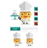 Carreira do cozinheiro chefe do projeto de caráter, vetor do ícone com fundo branco Fotos de Stock Royalty Free