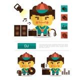 Carreira do DJ do projeto de caráter, vetor do ícone com fundo branco Foto de Stock Royalty Free