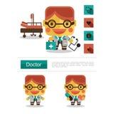 Carreira do doutor do projeto de caráter, vetor do ícone com fundo branco Fotografia de Stock Royalty Free