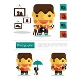 Carreira do fotógrafo do projeto de caráter, vetor do ícone com fundo branco Foto de Stock