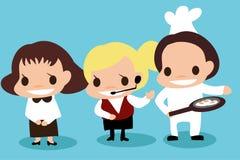 Carreira dos desenhos animados sobre o serviço no hotel e no restaurante Fotografia de Stock Royalty Free