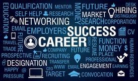 Carreira & Job Success Concept no fundo azul Fotografia de Stock Royalty Free