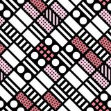 Carrelage géométrique décoratif de formes Modèle irrégulier monochrome abrégez le fond Ornement décoratif artistique Photographie stock
