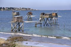 Carrelets at Saint-Michel-Chef-Chef in France Royalty Free Stock Photography