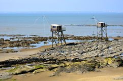 Carrelets at Saint-Michel-Chef-Chef in France Stock Images