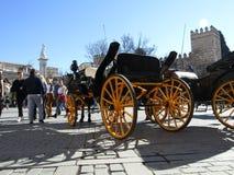 Carrelli del cavallo a Sevilla, Spagna fotografie stock libere da diritti