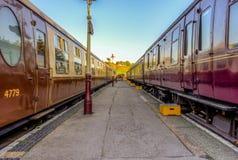 Carrelli del treno a vapore fotografie stock